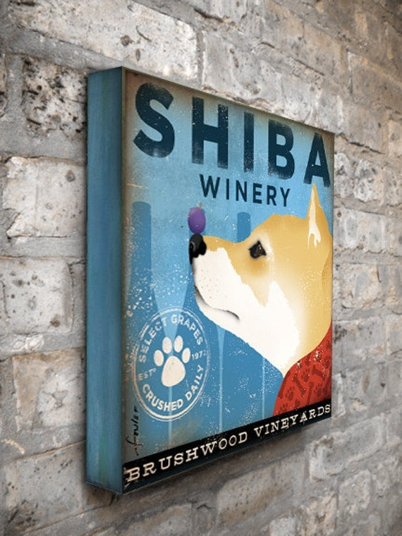 Shiba Inu Winery dog graphic illustration on gallery wrapped canvas by stephen fowler