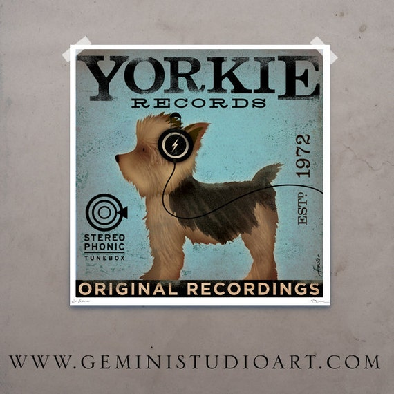 Yorkie Yorkshire Terrier dog records original graphic art giclee archival print by Stephen Fowler Pick A Size