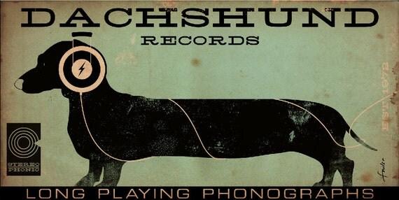 DACHSHUND records album style artwork on canvas original design 10 x 20 x 1.5