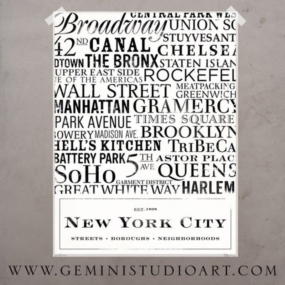 New York City Streets typography neighborhoods giclee archival print by stephen fowler Pick A Size