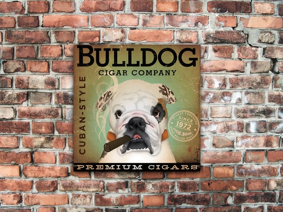 Bulldog dog Cigar Company illustration gallery wrap on gallery wrapped canvas  by stephen fowler