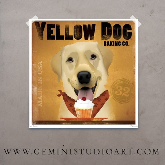 Yellow Dog Cupcake Company original illustration giclee archival signed artist's print by stephen fowler
