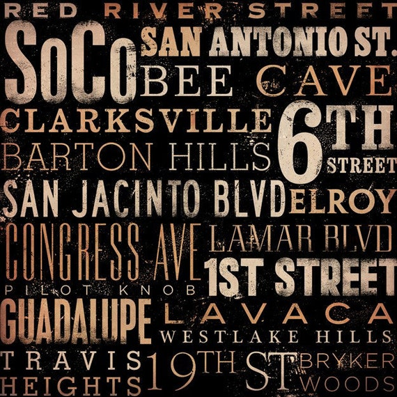 Austin Texas Streets and neighborhoods typography graphic artwork on canvas 12 x 12 by gemini studio