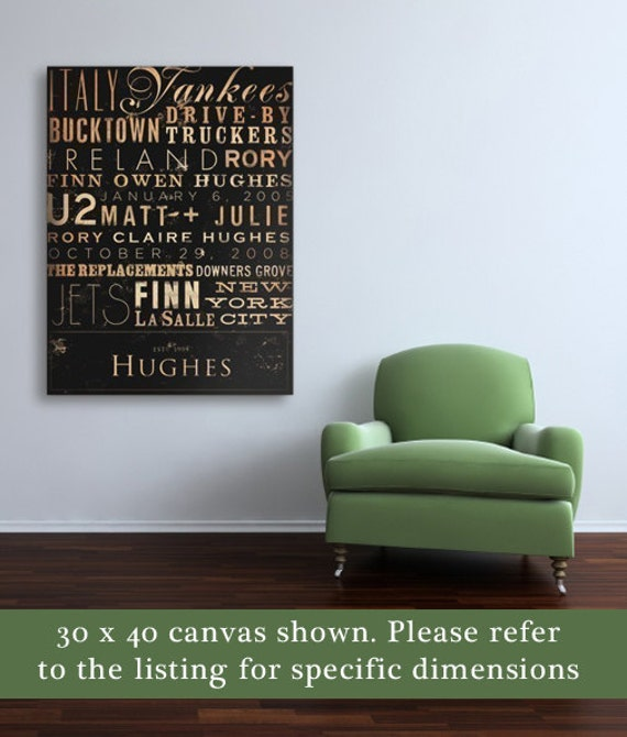 Custom Typography graphic word art on canvas 10 x 30 x 1.5  by stephen fowler