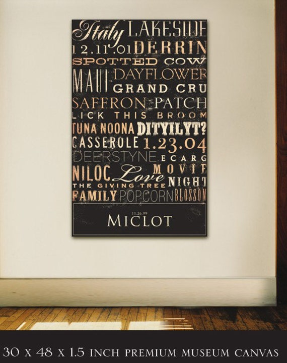 Custom Typography graphic art on canvas 30 x 48 by gemini studio  WEDDINGS BIRTHDAYS ANNIVERSARIES