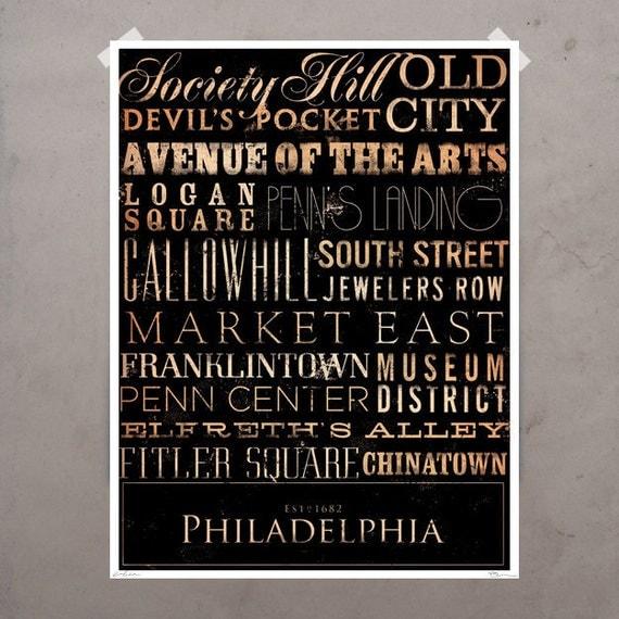 Philadelphia neighborhoods typography graphic art giclee signed archival print by stephen fowler