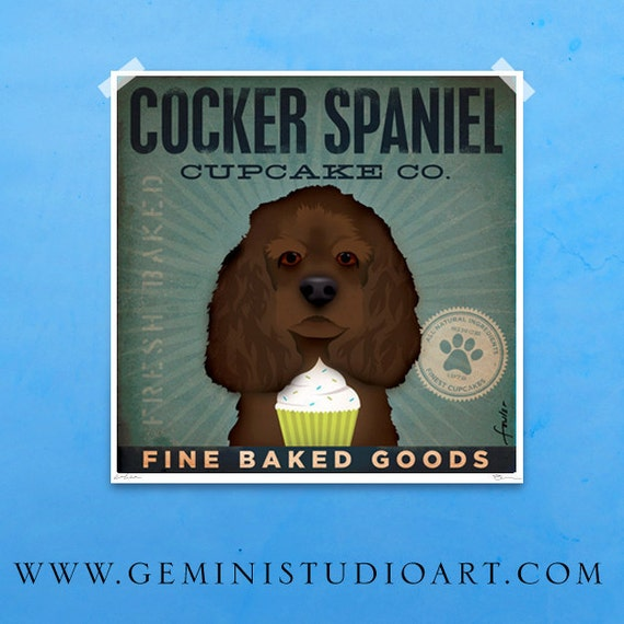 Cocker Spaniel Cupcake Company original graphic illustration giclee signed artist's print by stephen fowler