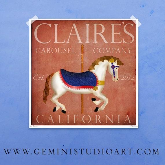 Children's Art Carousel Horse Company original illustration giclee archival print 12 x 12 customize it