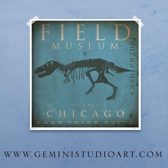 Field Museum Chicago Dinosaur Tyrannosaurus Rex Sue Giclee archival print by Stephen Fowler