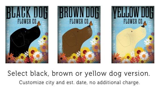Labrador retriever flower company original graphic illustration on canvas  by stephen fowler