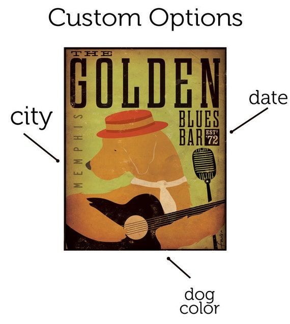 Golden Retriever dog Blues club original graphic illustration on gallery wrapped canvas by Stephen Fowler