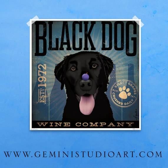 Black Dog Labrador Winery artwork original graphic illustration signed archival artists giclee print by Stephen Fowler Pick A Size