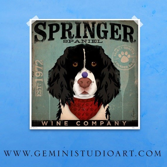 Springer Spaniel Wine Company art Unframed print by stephen fowler various sizes
