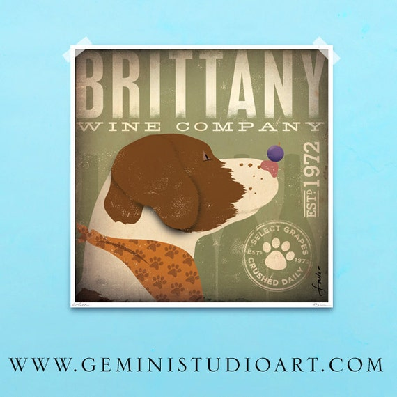 Brittany Spaniel dog wine Winery illustration giclee archival signed print by stephen fowler PIck A