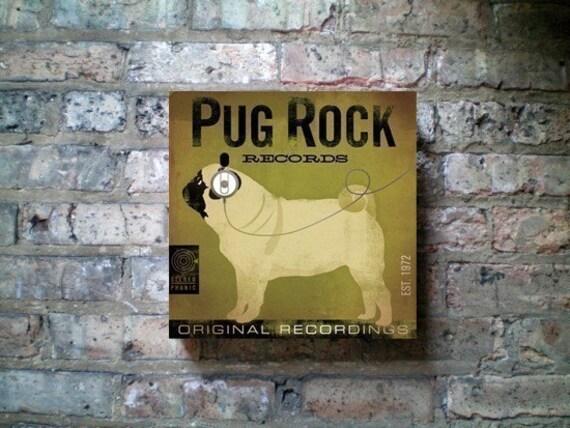 PUG ROCK records album style graphic artwork on canvas original