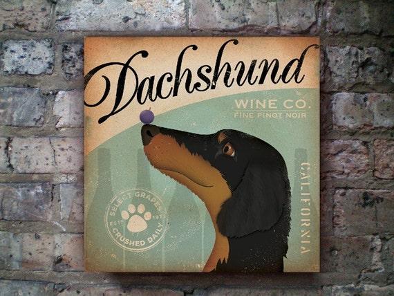 DACHSHUND wine company vintage style artwork on canvas original