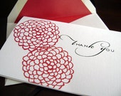 Modern Floral Wedding Thank You Cards in Red - Set of 8