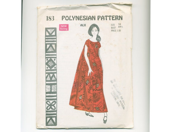 CLEARANCE: Vintage 60s POLYNESIAN Pattern - Evening Gown Hawaii Bust 32.5