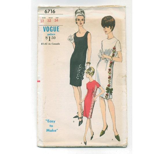 1960s VOGUE  Dress  Pattern - UNCUT - Bust 32