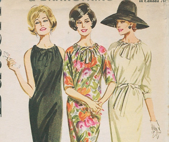 1960s Drawstring Dress Pattern, Uncut - Bust 32