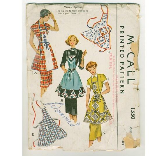 1940s Rare Apron Pattern - One Size