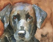 Labrador Retriever Art Print of Original Watercolor Painting - 8x10 Black Lab