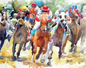 Final Turn Horse Racing Art Print of Original Watercolor Painting - 11x14