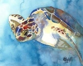 Sea Turtle Art Signed Print by Ron Krajewski
