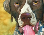 German Shorthaired Pointer Art Print of Original Watercolor Painting - 11x14