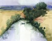 Arrowhead Pond Original Watercolor  Painting Landscape