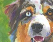 Australian Shepherd Art Print of Original Watercolor Painting - 8x10