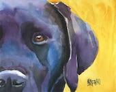 Labrador Retriever Art Print of Original Watercolor Painting - Black Lab 8x10