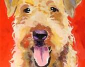 Airedale Dog Art Original Acrylic Painting