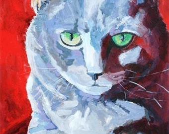 Russian Blue Cat Art Print of Original Acrylic Painting 8x10