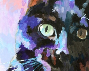 Black Cat Art Print of Original Acrylic Painting 11x14