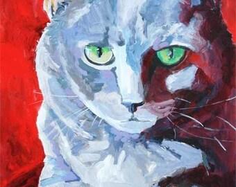 Russian Blue Cat Art Print of Original Acrylic Painting 11x14