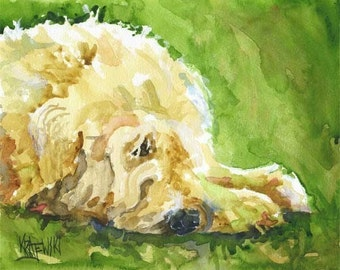 Wheaten Terrier Art Print of Original Watercolor Painting - 11x14