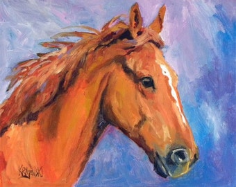 Chestnut Horse Art Print of Original Oil Painting 11x14