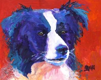 Border Collie Art Print of Original Acrylic Painting - 11x14 Dog Art