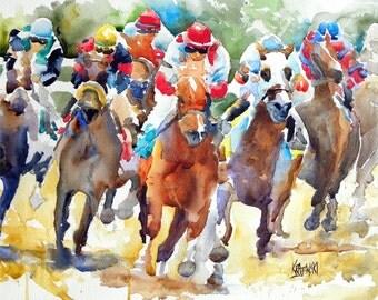 Final Turn Horse Racing Art Print of Original Watercolor Painting - 8x10