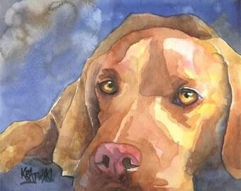 Vizsla Dog Art Print of Original Watercolor Painting - 11x14