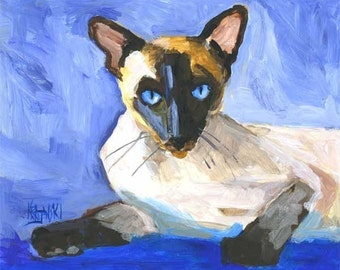 Siamese Cat Art  Print of Original Acrylic Painting - 8x10
