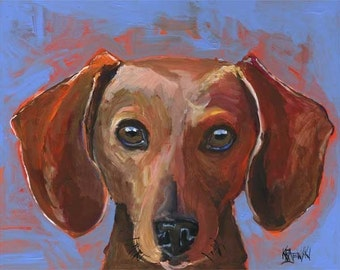 Dachshund Art Print of Original Acrylic Painting - 11x14 Dog Art