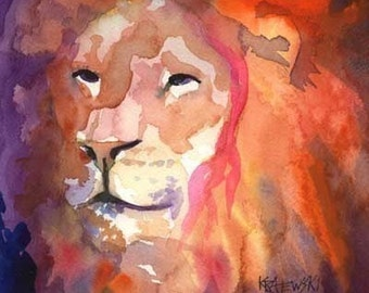 Lion Art Print of Original Watercolor Painting - 8x10 Signed by Artist