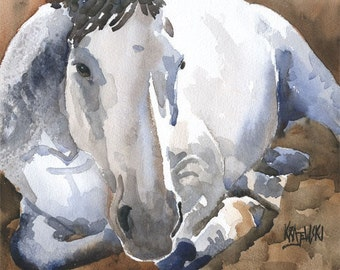 Gray Horse Art Print of Original Watercolor Painting 11x14
