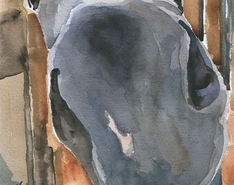 Gray Horse Art Print of Original Watercolor Painting 8x10
