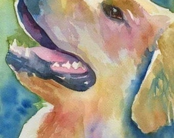 Golden Retriever Art Print of Original Watercolor Painting - 8x10 Dog Art
