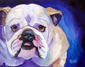 English Bulldog Art Print of Original Acrylic Painting - 11x14