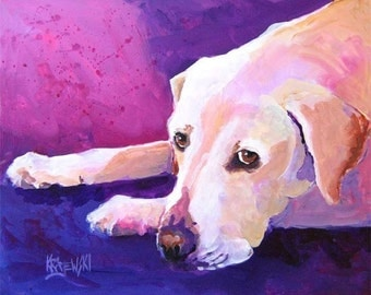 Labrador Retriever Art Print of Original Acrylic Painting - 8x10 Yellow Lab