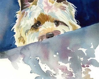 Cairn Terrier Art Print of Original Watercolor Painting 11x14